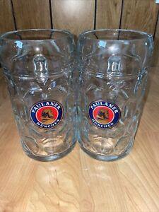 """Two """"Paulaner Munchen"""" 1 Liter Dimpled German Austria Heavy Beer Stein Glass Mug"""