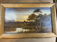 "Antique ""Landscape With Female Figure Scene"" Oil Painting - Framed"