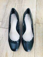 Womens Black NINE WEST Court Shoes Low Block Heel 6W Patent Leather Smart Office