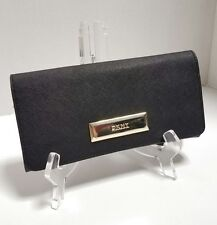 NEW DKNY Black Saffiano Leather Classics Envelope Wallet Clutch Gold Hardware