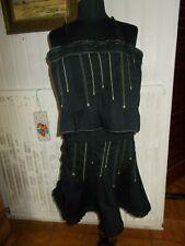 Tailleur jupe courte bustier CHRISTIAN LACROIX JEANS 38IT 34FR noir surpiqué