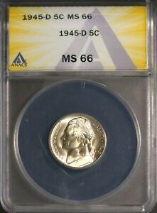 1945-D 35% Silver 5C Jefferson Head Nickel MS 66 ANACS # 7269893 + Bonus