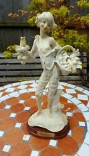 Parian Bisque Ware Street Vendors Fruit Selling Boy Figurine On Wooden Base 13''