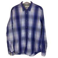 Calvin Klein Dress Shirt Mens Sz L Large Blue White L/S Button Up CC17