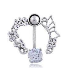 UK Belly Button Bars Fancy Wings Piercing Dangle Drop Stainless Steel Silver Bar