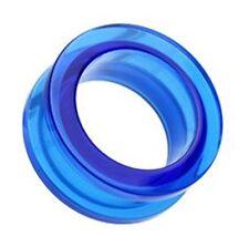 PAIR-Blue UV Acrylic Screw On Ear Tunnels 10mm/00 Gauge Body Jewelry