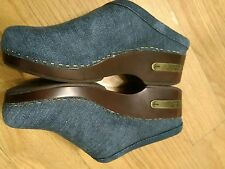 WOMEN'S LUCKY BRAND  BLUE JEAN MULES CLOGS SHOES  SIZE 6B/36