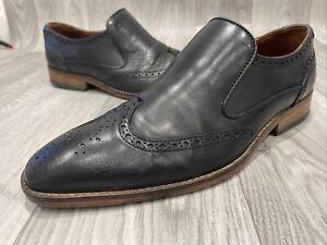 Sole Oakhill Mens Black Leather Brogue Shoes Slip On Uk8/42 Smart See Descript