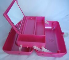 Vintage Caboodles Makeup Case Train Pink Jelly Removable Tray Large Mirror