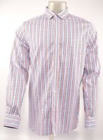 TED BAKER Men's Long Sleeve Striped Shirt, Blue/Red , L / size 4 / collar 16.5""