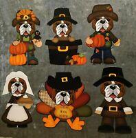 """Bulldog Thanksgiving 4 """" Magnet Set (set of 6)"""