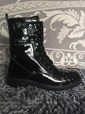 Brawn Patent Leather Studded Combat Boot 39 Black