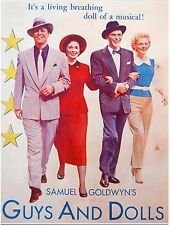 "1957 Israel ""GUYS And DOLLS"" Hebrew MOVIE FLYER POSTER Film BRANDO Frank SINATRA"