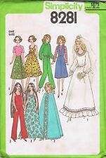 1977 Barbie Doll Wardrobe Sewing Pattern Simplicity 8281 Uncut Wedding Gown Cape