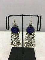 Earrings Lapis Dangle Silver Bells Middle Eastern Dangle Earrings E167