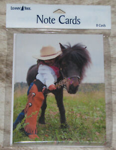 """LEANIN TREE """"Little Cowgirl with Her Pony""""~Pack of 8 Notecards #35576~"""