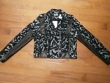 NWT Womens Diane von Furstenberg Wool / Lambs Leather Jacket Coat  10 Black Gray