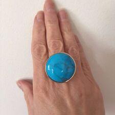 Designer Dyed Howlite 28 MM Round Statement Bronze 14kt Plated Ring Size 7