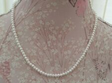 "19"" vintage style White dainty glass faux pearl necklace Bride,Wedding,Party"