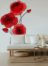 Poppy Flower Abstract Wall Decal Large Vinyl Décor Sticker Watercolor Floral