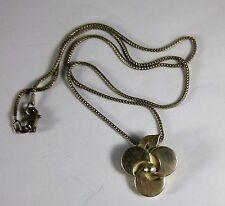 Vintage aarikka Finland Sterling Silver 3 Leaf Clover Flower Pendant Necklace