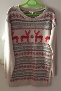 Fair Isle Stag/Snowflake Cotton/Wool Mux Jumper, Size 12, By Fat Face