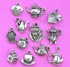Tea Charm Collection 12 Tibetan Silver Tone Charms FREE Shipping E6