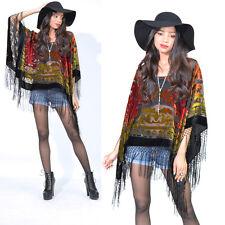 Sheer Draped Fringe Silk Burnout Velvet Hippie Boho Gypsy Festival Cape Poncho