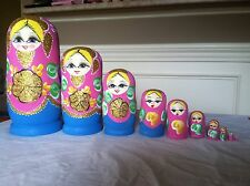 russian nesting doll Set Of 10 Hand made 10.5 inchs tall US Seller