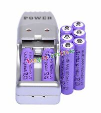 8x AAA 3A 1800mAh 1.2 V Ni-MH Rechargeable Battery Purple + AA AAA USB Charger