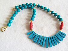 Vintage Faux Turquoise Fringe Necklace
