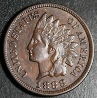 1888 INDIAN HEAD CENT - With LIBERTY & Near 4 DIAMONDS - AU UNC