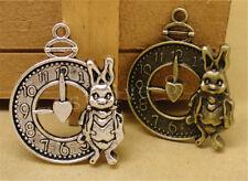3/15/75pcs Lot Tibetan Silver Rabbit Clocks Jewelry Charm Pendant 31x25mm A874H