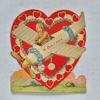 Rare Early 1920s-30s Vintage Stand Up Valentines Card Germany Airplane Hearts