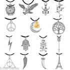 JP 1PC Men's Women's Silver Tone Pendant Necklaces Black Wax Rope Chain Charm