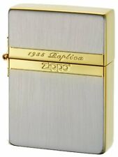 Zippo 1935 Replica Mirror Line Gold Silver Plating Etching Japan Limited F/S