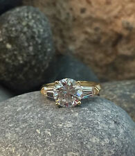 Man made diamond Engagement Ring All size 14K Solid 3.00 Ct White Gold Round cut