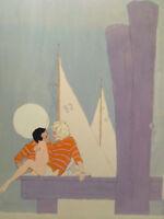 """Gouache Illusration 22"""" x 28"""" Couple on a Dock - Paul C. Burns listed artist"""