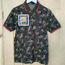 Fred Perry x Paddy Smith Camoflague Polo Shirt ADULT SIZE SMALL Limited Edition