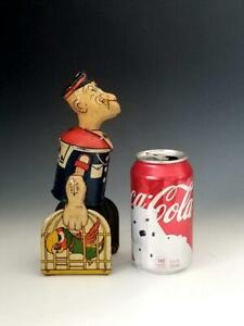"1935 Marx Tin Litho Wind-Up 8.5 "" WALKING POPEYE WALKER w. PARROT CAGE"