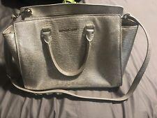 Michael Kors Purse Silver Medium Handbag Authentic