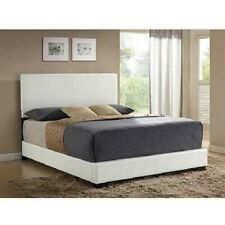 Modern Queen Size Platform Bed Frame With Headboard Faux Leather White Bedroom