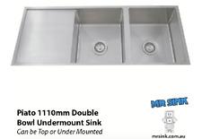 1110mm Piato Double Bowl Brushed Handmade 1.2mm S/Steel Undermount Kitchen Sink