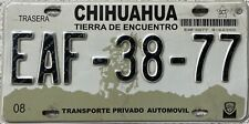 GENUINE Mexico Chihuahua License Licence Number Plate EAF-38-77