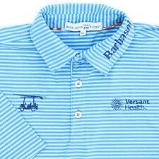 "Bald Head Blues Men Medium 45"" Golf Polo Shirt Barbasol Versant Health Stripe"