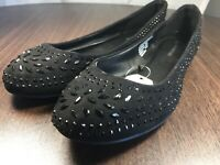 Time And Tru Memory Foam Black Rhinestone Women's Flats Shoes - Multiple Sizes