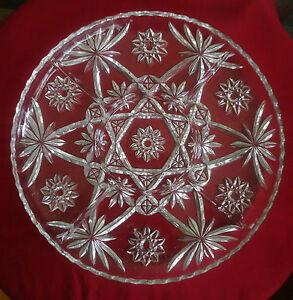 Vtg Anchor Hocking Early American Prescut / Star of David Divided Glass Platter