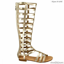 Women's Knee High Buckle Strapy Cage Cut Out Flat Gladiator Sandals ShoeSz 7-10