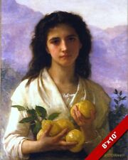 YOUNG GIRL WOMAN HOLDING SELLING LEMONS OIL PAINTING ART REAL CANVAS PRINT