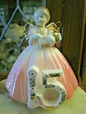 "Josef Originals 15 Yr Birthday Angel Porcelain Figurine Holding Package 6"" Tall"